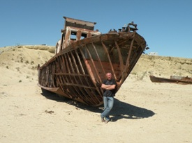 Rusty ships in the former Aral Sea bed