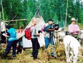 Filming in Tuva